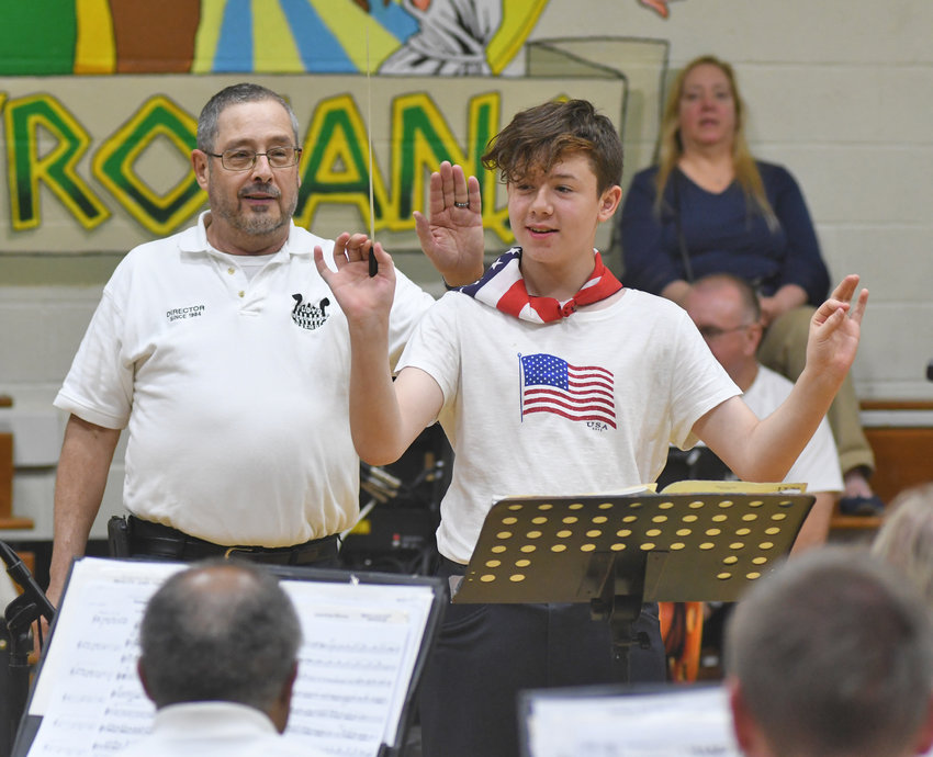 NYSSD student Jayden Dibbles guest conducts the Floyd Community band with director Charles Coville standing next to him during the concert Tuesday night.