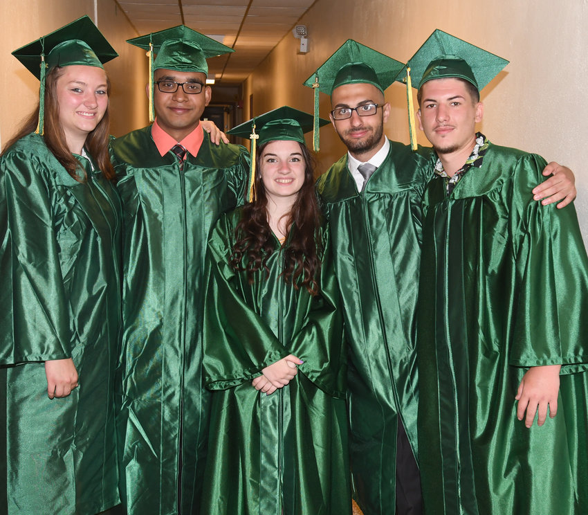 CLASS OF 2019 — The Class of 2019 at the New York State School for the Deaf celebrated their commencement ceremony this morning.  Graduating are, from left: Roseanna Wright, of Verona; Ka Dil, of Utica; Abigail Anzalone, of Unadilla; Yousef Sawaqed, of Poughkeepsie; and Alen Kendic, of Rome.