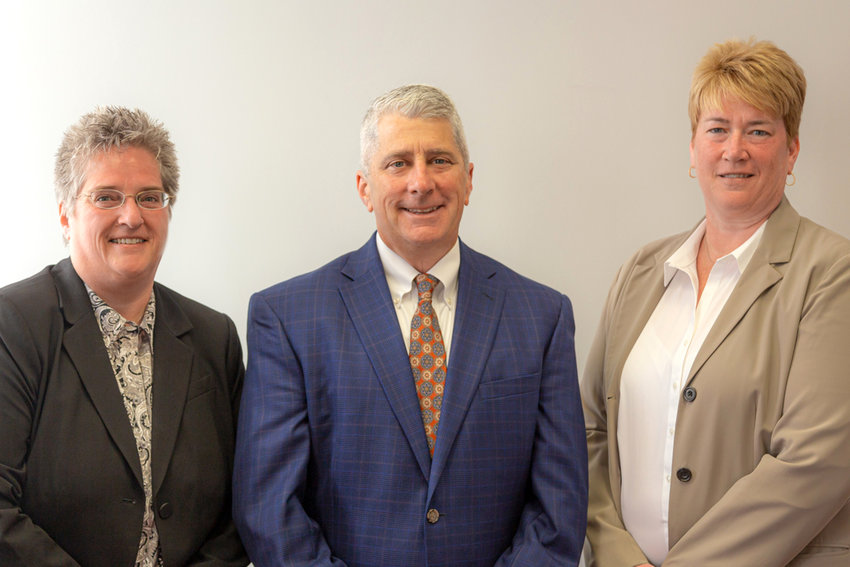 READY FOR THE FUTURE —The Arc of Madison Cortland has announced a trio of promotions in leadership positions at the agency which serves over 1,000 individuals with disabilities.  From left: Karen Manser, chief financial officer; Perry Courto, executive director; and Chris Evans, associate executive director.