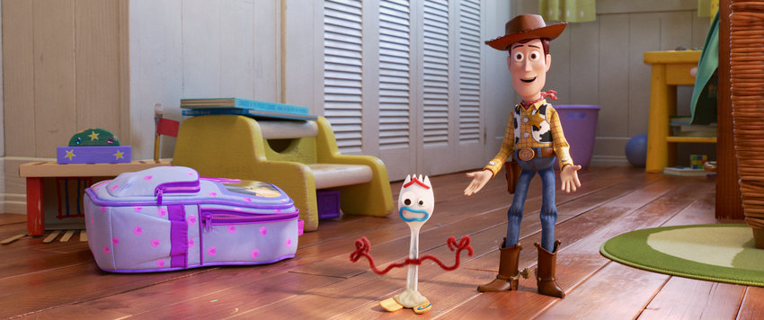 "NEW TOY — In Disney and Pixar's ""Toy Story 4,"" Bonnie makes a new friend in kindergarten orientation—literally. When Forky (Bonnie's craft-project-turned-toy) declares himself trash and not a toy, Woody takes it upon himself to show Forky why he should embrace being a toy."