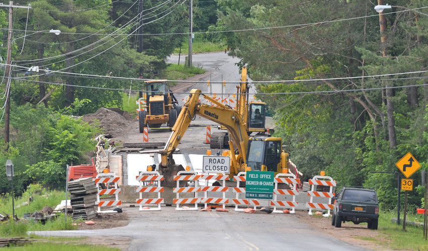 CLOSED FOR CONSTRUCTION —The bridge spanning the Black River along Hawkinsville Road in Hawkinsville is closed for the next few weeks for a new  bridge to be built.  Hawkinsville Road connects Boonville to Woodgate.