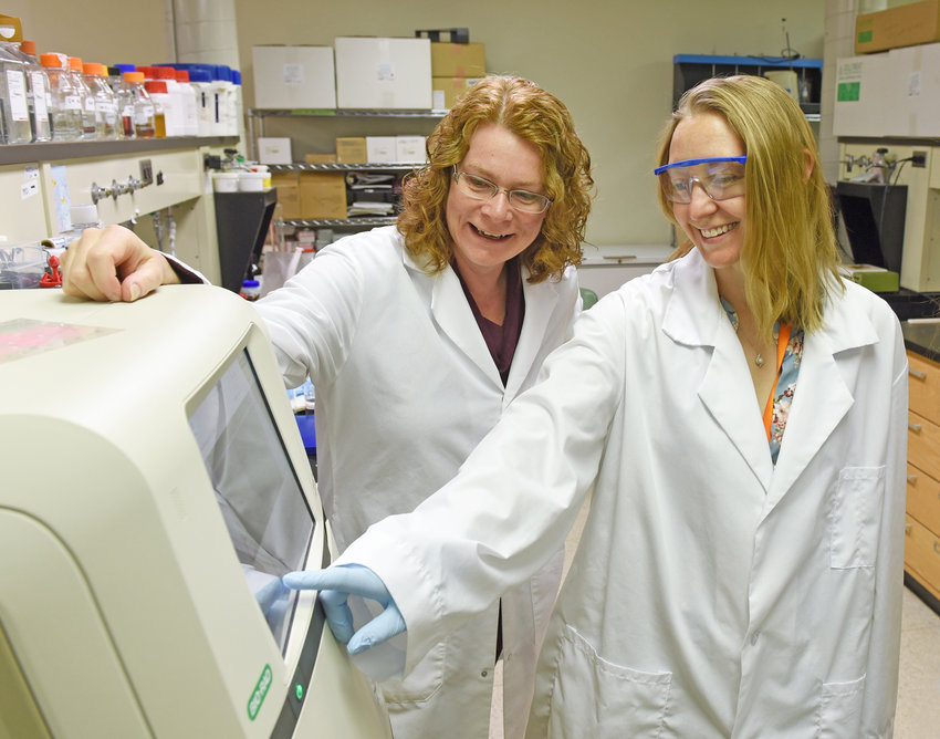 "GRANT RECIPIENTS — Dr. Carolyn Rodak, right, and Dr. Lauren Endres, have received a $20,000 ""Validation and Application of qPCR-MST of Fecal Contamination in the Mohawk River Watershed"" award under the Water Resources Research Grant Program. Rodak, who began sampling in the Mohawk River in summer 2016, partnered with Endres last year on the research proposal to identify microbial indicators in the Mohawk River."