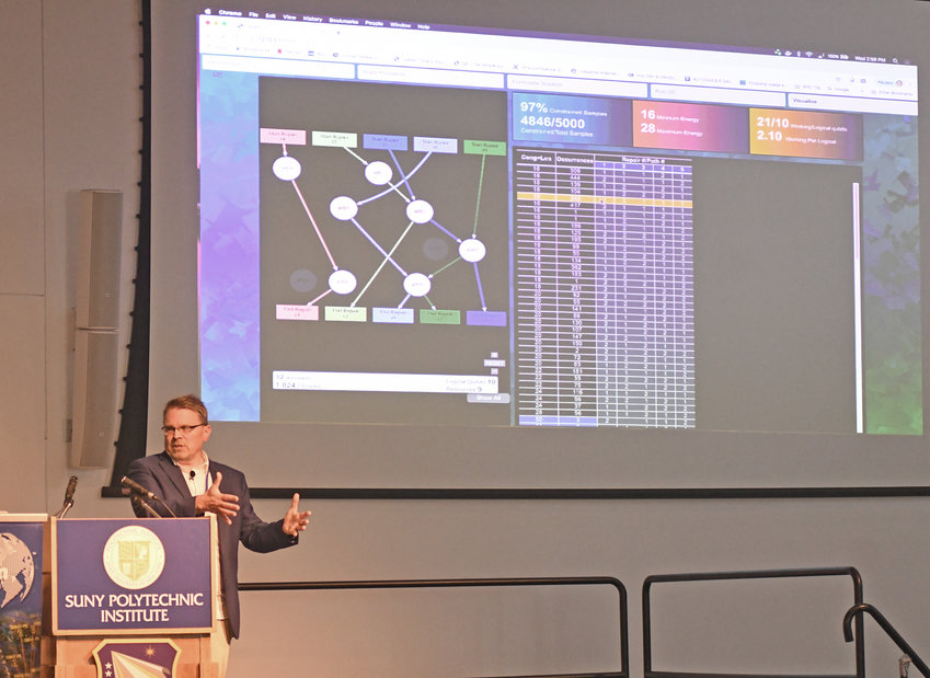 """CONNECTING THE DOTS — Austars Schnore of GE Global Research conducts a """"Quantum Computing for Asset Sustainment Demo"""" Wednesday at SUNY Polytechnic Institute in Marcy, as part of a Quantum Information Science 1st International Workshop hosted by SUNY Poly and the Rome-based Air Force Research Laboratory Information Directorate."""