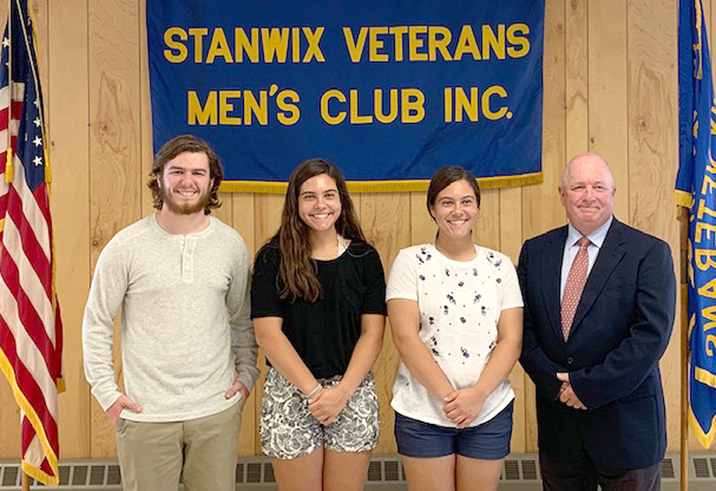 YOUNG SCHOLARS —The Stanwix Veterans and Men's Club has awarded its 2019 scholarships, giving $6,000 to 15 students representing seven different high schools during a recent ceremony at the club. From left: Scholarship recipients Matthew Yager, Maddelyn Hoehn, Matteson Hoehn, and Frank Anderson, chairman of the club's scholarship committee.