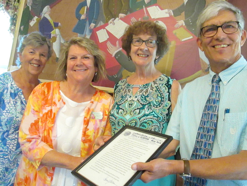 60TH ANNIVERSARY — A celebration of the Schooltown Questers 60th year anniversary was held on July 16 at the Alexander Hamilton Institute in Clinton.  Mayor Steven J. Bellona presented Cindy Majka, president, with a proclamation naming July 16, 2019 Schooltown Questers Day.  Robert Paquette, president of Alexander Hamilton Institute, and Rose Raymond, curator of the Clinton Historical Society, gave presentations on the role the historical building has played in the community since the early 1800s. Mary Donovan and Rosemarie Tinkler co-chaired the luncheon.  From left: Mary Donovan, luncheon co-chair; Cindy Majka, president of Questers; Rosemarie Tinkler, luncheon co-chair; and Mayor Bellona.