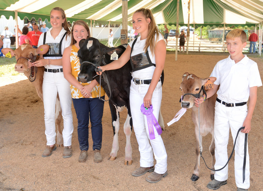 "ALL-BREED CHAMPS — Kathleen Gallagher, of Waterville and her calf Lunar, left, along with Gabby Wormuth the judge, Taylor DiNitto and Mason Ziemba from Durhamville with ""Big Bucks"" his jersey calf pose in the competition tent last Wednesday at the  Boonville-Oneida County Fair. They are the all-breed champions."