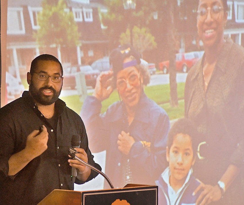 MATH AND FOOTBALL INTERESTS — Former pro football player John Urschel, a candidate for a PhD in mathematics, uses photos from his childhood during some of his comments Thursday night at The Beeches as a keynote speaker at the fourth annual Project Fibonacci STEAM Leadership Conference for students.