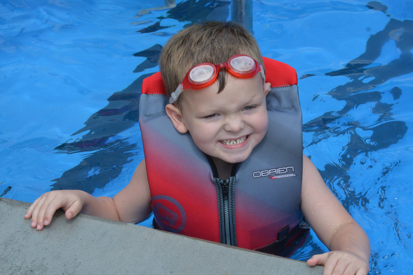 CHEESE! — Jace Tarkowski, 3, of Vernon came out to the season opening of the Anna Newman Kunz Memorial Pool on Saturday, Aug. 3 in Westmoreland.