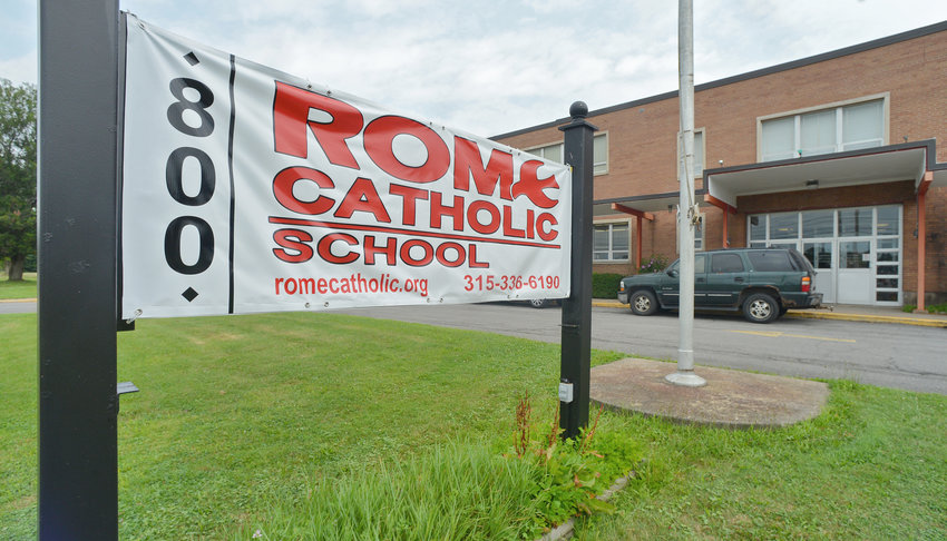 MARKING THE RETURN — A recently placed sign in front of Rome Catholic School's 800 Cypress St. facility reflects the school's return to its former longtime home there after being at a Floyd Avenue location for the past three years. The sign is temporary, said RCS Principal Nancy Wilson, adding that long-term plans include seeking a digital sign; a sign that was at the Floyd Avenue site is damaged. RCS includes students in pre-K through grade 6, and its first day of school for the 2019-20 year will be Sept. 5.