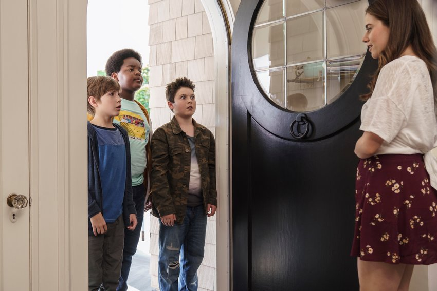 "RATED R— Jacob Tremblay, from left, as Max, Keith L. Williams as Lucas, Brady Noon as Thor and Molly Gordon as Hannah in the film, ""Good Boys."""