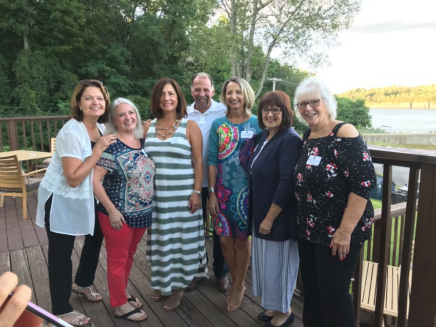 JUST LIKE OLD TIMES — Members of the Rome Free Academy Class of 1974 gathered for their 45-year reunion on Saturday, Aug. 24, at the Delta Lake Inn.  Among those attending the event were members of the reunion committee and class officers, including, from left: Pam Ball Holpp; Debby Dorn Kay, class secretary; Wendy Calnero Wojdyla; Chris DeMinco; class treasurer; Cathy Coviello DeGennaro; Gwyn Jones Talerico; and Kathy Vinneau Piemonte. Not pictured was Terri Anderson Kearney.