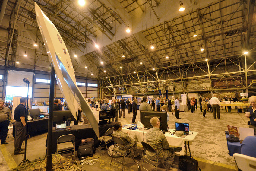 OPEN HOUSE HANGAR — An unmanned aircraft is displayed by the Air Force Research Laboratory at the Griffiss is Growing open house Saturday in a former Air Force hangar at the Griffiss Business and Technology Park in Rome.