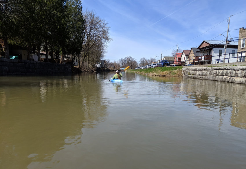 EYE ON THE FUTURE —A meeting on Thursday, Sept. 26, will focus on ways enhance the recreation, tourism, and economic development potential of the Old Erie Canal — shown above being navigated by a kayaker.  The meeting will be at Oneida City Hall from 4 to 6 p.m.