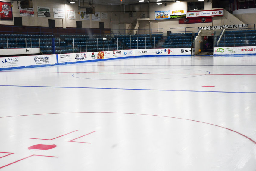 NEW PAINT —The new ice is in, and freshly painted at the Edward W. Stanley Recreation Center, better known as the Clinton Arena.