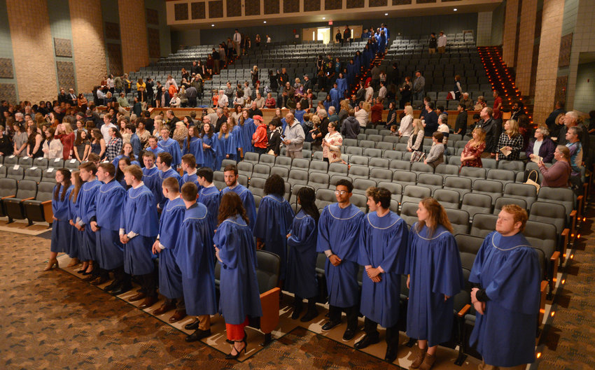 RFA HONOR SOCIETY PROCESSION — Lines of current Rome Free Academy Honor Society members and new inductees for 2019 proceed into the RFA auditorium during an induction ceremony Tuesday night.