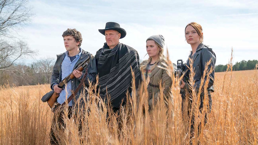 """BACK AGAIN — From left, Columbus (Jesse Eisenberg), Tallahassee (Woody Harrelson), Little Rock (Abigail Breslin) and Wichita (Emma Stone) in a scene from """"Zombieland: Double Tap."""""""
