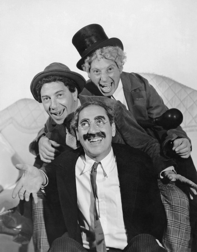 'A NIGHT AT THE OPERA' — Groucho, Chico, and Harpo Marx starring in the 1935 comedy classic.