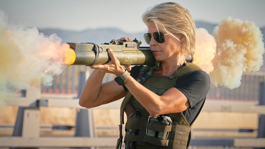 "RETURN — Linda Hamilton in ""Terminator: Dark Fate."""