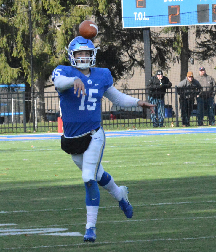 QB PASS — Hamilton College quarterback Kenny Gray throws a pass on the run during NESCAC action on Saturday, Nov. 9 against Bates College Steuben Field. Gray was 16 of 30 passing for 136 yards and two touchdowns for the Continentals in the 26-21 loss.
