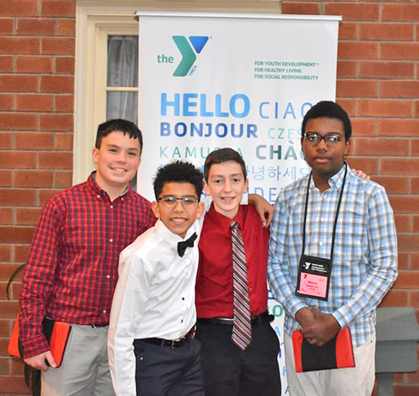 LEARNING — Pictured from left are Strough Middle School students: Tanner J. Hill, Ellis Pomales III, Liam Powers-Ginter, and Kenneth Sanders Jr. who recently  participated in a Youth and Government Conference in Albany.