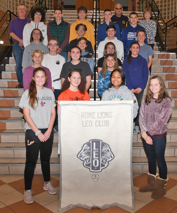 LEOS SET FOR 2019-20 — The Leo Club at Rome Free Academy officers for 2019-20 include, in front row from left: Sierra Ciotti, president; Erika Rizzo, 1st secretary; Hana Samad, vice president; Sarah Hahn, 2nd secretary. The club is sponsored by the Rome Lions Club. In the back row at left is Larry Jeroszko of the Rome Lions Club who is a Leo adviser. In the back row at right is RFA guidance counselor Maureen Nash who is a Leo school adviser, and second from right in the back is Joe DeFina, Rome Lions Club past district governor.