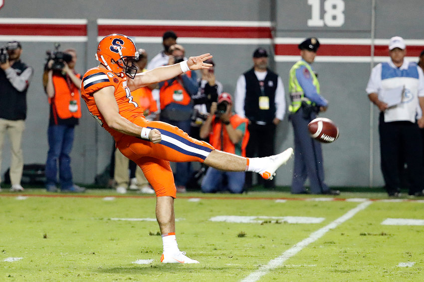 ALL-ACC SELECTION — Syracuse punter Sterling Hofrichter, shown in this Oct. 10 file photo during a game against North Carolina State, has been named a first-team, AP All-ACC selection.