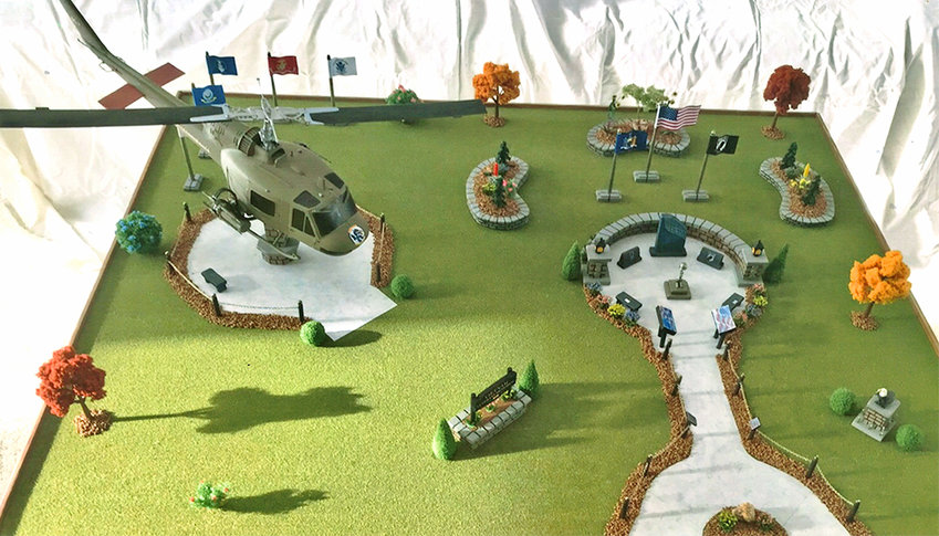 READY FOR PHASE II — The Vietnam Veterans Memorial Fund, Inc., of Rome, just released this model of plans for Phase II of the new memorial that was dedicated at Griffiss Park back on Memorial Day. Phase II work, which the organization is raising funds for now, will include a UH-1 Huey helicopter.    (Photo courtesy Vietnam Veterans Memorial Fund)