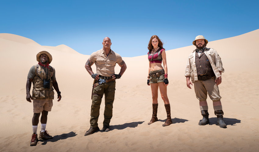 "New adventure — Kevin Hart, from left, Dwayne Johnson, Karen Gillan and Jack Black in a scene from ""Jumanji: The Next Level."""