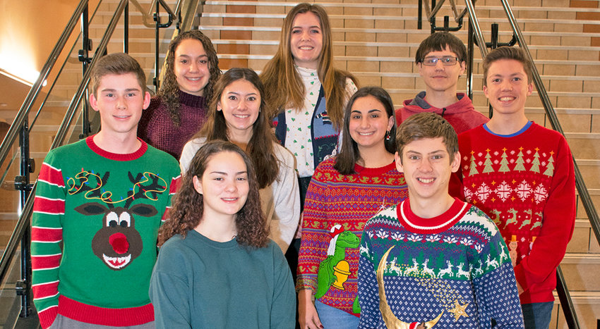 ACADEMIC EXCELLENCE SCHOLARSHIP WINNERS — Rome Free Academy students who have been awarded New York State Scholarships for Academic Excellence, in front row from left: Erika Rizzo and Justin Watson. In middle row, from left: Joseph Yoxall, Jamie Fleck, Elena Amoroso and Nicolas Ferretti. In back row, from left: Miranda Libby, Reilly O'Shaughnessy and Ryan Nowak.
