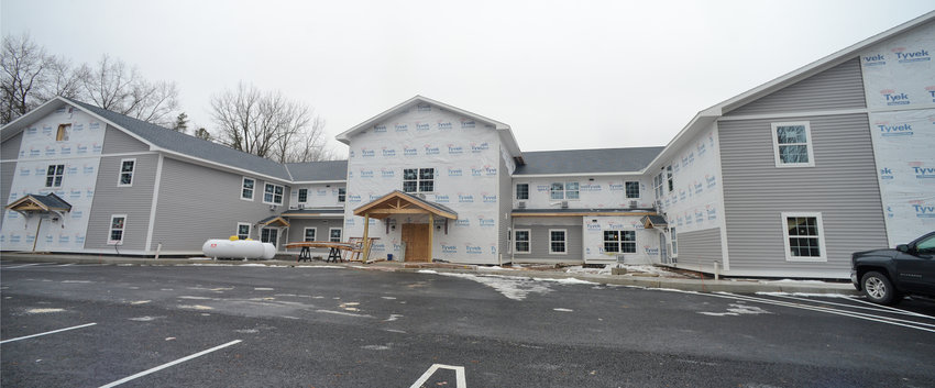 BEACH HOUSING — The Jason Gwilt Memorial Senior Apartments  in Sylvan Beach Friday afternoon. The complex of 50 one- and two-bedroom, income-eligible apartments for people age 55 and older is on schedule for opening in May, with a lottery for applicants in March.