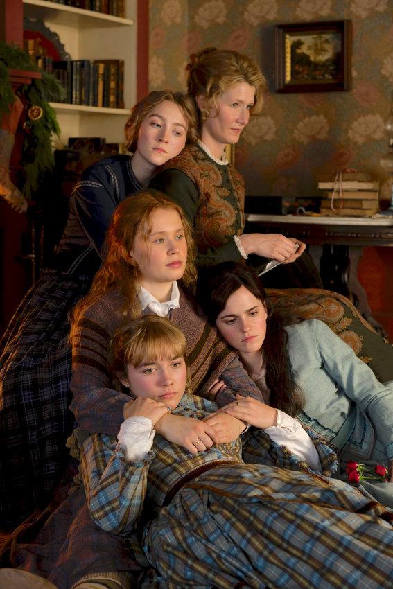 "literary classic — Clockwise from top left, Saoirse Ronan, Laura Dern, Emma Watson, Florence Pugh and Eliza Scanlen in Greta Gerwig's ""Little Women."""