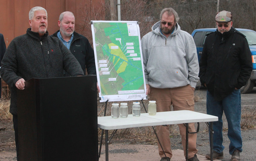NOT A DROP TO DRINK — Town of Vernon Supervisor Randy Watson, left, details the water plight in Vernon Center, asking something to be done by state officials.  Also pictured are: Vernon Councilor John Peters, Vernon Councilor Steven Adamkowski and Vernon Councilor Myron Thurston.