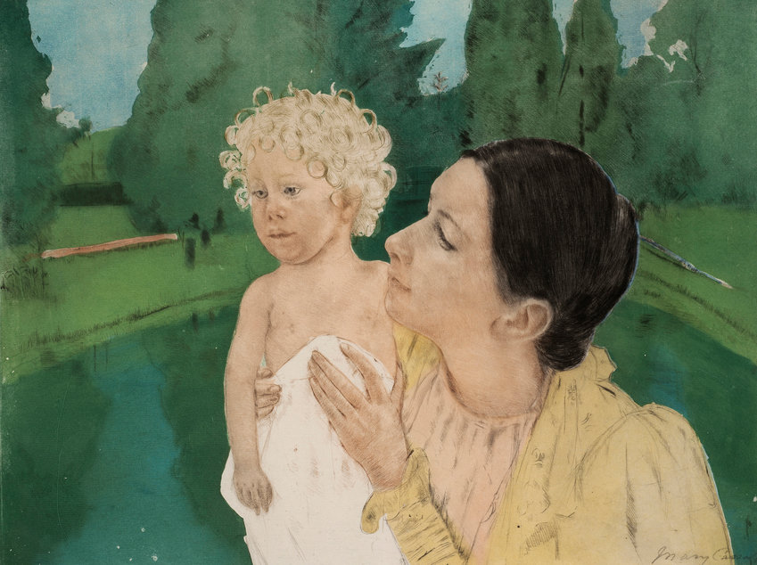 By the Pond — Piece by Mary Cassatt, ca.1898. Color aquatint and drypoint, 15 1/2 x 18 15/16 in.