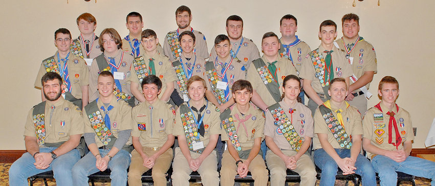 HIGH ACHIEVERS — Area Eagle Scouts were recognized for their achievements during a ceremony this past weekend in Ilion, featuring keynote speaker Lt. Gen. (Ret.) Earl Hailston of West Winfield. Among those honored were, from left:  Front row: Richard Serafin, Oneonta; Hayden Johnson, Westmoreland; Matthew Crovella, Manlius; Cory Miner, Johnstown; Connor Johnson, New Hartford; Russell Sortino, Utica; Matthew Coyne, Westmoreland; and Erik Deysenroth,  Cooperstown; middle row: Gabe O'Dell, Earlville; Tobie Peck, Canastota; Jacob Kulczak, West Winfield; Adam Burton,  Cobleskill; Joe Lawyer, Cobleskill; Dillon Donley, West Winfield; and  Steele Stallock, West Winfield; back row: Brandon Winter, Cobleskill; Maxwell Collins,  Earlville; Nathaniel Edwards, Morris; Noah Aubin, Walton; Luke Bartlett, Springfield; and Andrew LaRock, Floyd.
