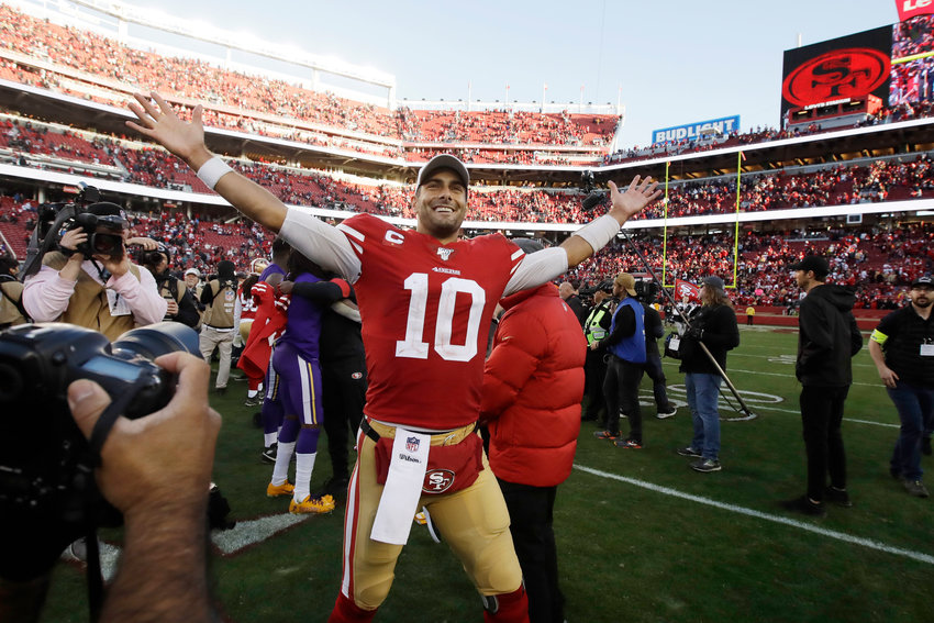 ON TO THE NFC TITLE GAME — 49ers quarterback Jimmy Garoppolo celebrates following last week's win over the Vikings in an NFC divisional playoff game in Santa Clara, Calif. San Francisco hosts Sunday's NFC championship game against the Packers.