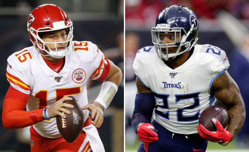 OFFENSIVE KEYS — Chiefs quarterback Patrick Mahomes, left, and Titans running back Derrick Henry will be looking to lead their teams to the Super Bowl when they play in Sunday's AFC championship game in Kansas City.