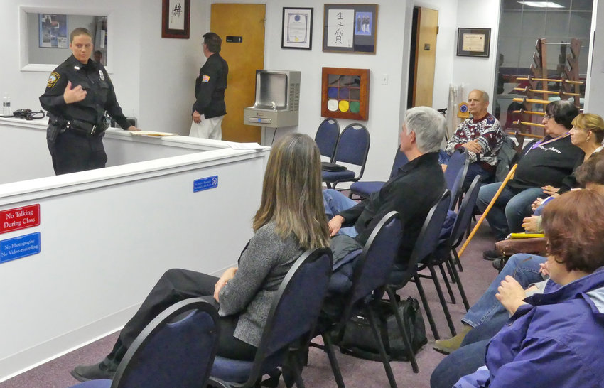 INTERNET SAFETY CHAT —New Hartford Police Officer Annemarie Brelinsky spoke to a group of parents and guardians about how to keep their children safe on the internet. The lecture was hosted by the American Martial Arts Institute on Seneca Turnpike.