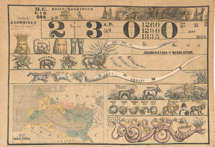 Prophetic chart — Piece by Jonathan Cummings, 1853. Color lithograph on cloth