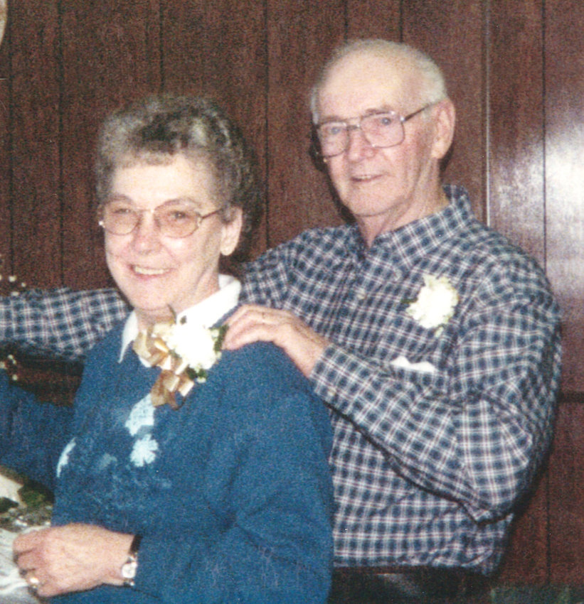 VALENTINES FOR 71 YEARS — Here the Griffiths — Joyce and Claude — of Betsy Ross Nursing and Rehabilitation Center and formerly of Taberg, celebrate their 50th wedding anniversary in this family photo. Today, the couple will celebrate 71 years of wedded bliss.