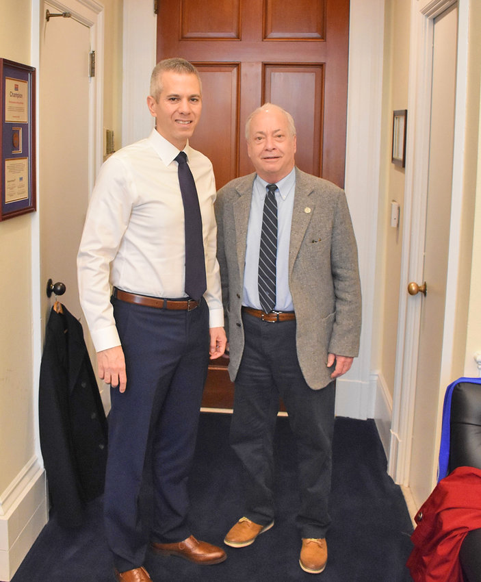 CONGRESSMAN REVIEWS DFAS TOPICS — U.S. Rep. Anthony Brindisi, at left, stands with Rome Defense Finance and Accounting Service (DFAS) union local President Edward Abounader at Brindisi's Washington, D.C. office last week during Abounader's visit to discuss DFAS-related matters.