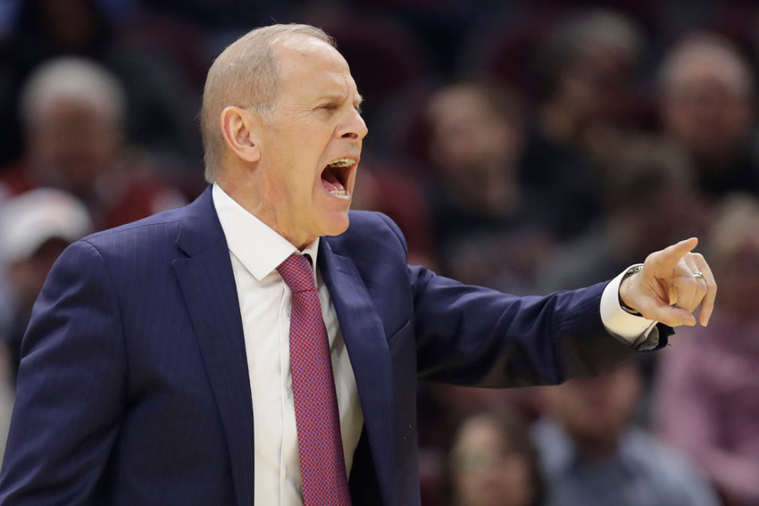 CALLING IT QUITS — Cavaliers head coach John Beilein yells instructions to players in the first half of an NBA game against the Knicks on Jan. 20 in Cleveland. He resigned Wednesday after just 54 games with the rebuilding Cavaliers