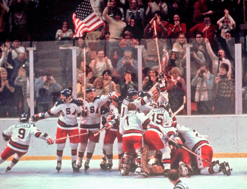 STILL VIVID —In this Feb. 22, 1980, file photo, the U.S. hockey team pounces on goalie Jim Craig after a 4-3 victory against the Soviet Union in a medal round match at the 1980 Winter Olympics in Lake Placid. The U.S. upset the mighty Soviets in a breathtaking moment freighted with the tension of the Cold War. After four decades, nobody is willing to stop talking about perhaps the greatest David over Goliath moment in the history of sports.