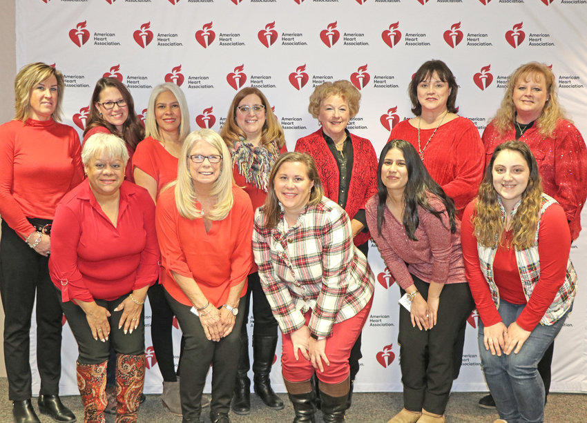 HEART HEALTH MAKEOVER — Participants in the American Heart Association's Go Red for Women BetterU program will go through 12 weeks of coaching on heart-healthy lifestyle improvements. Pictured are, at rear from left to right, Lisa Provost, Kathy Riolo, Lina Perdomo, Christine Pandolf, Barbra Pollard, April Arch-Espirgares, Lynne Orendorf. Front, from left, are  Sonia Martinez, Sandy Scholl, Kari Puleo, Angy Medina, Brianna Wichowsky.