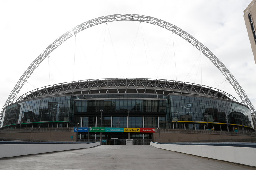 WEMBLEY STADIUM — A general view of Wembley Stadium in London on March 17. UEFA has formally proposed postponing the 2020 European Championship for one year because of the coronavirus outbreak. The Norwegian soccer association says the new tournament dates will be June 11 to July 11.