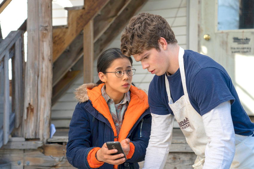 """INDIE FLICK— Leah Lewis, left, and Daniel Diemer in a scene from """"The Half of It,"""" a romance about a high school loner who helps a jock woo the popular girl in school."""