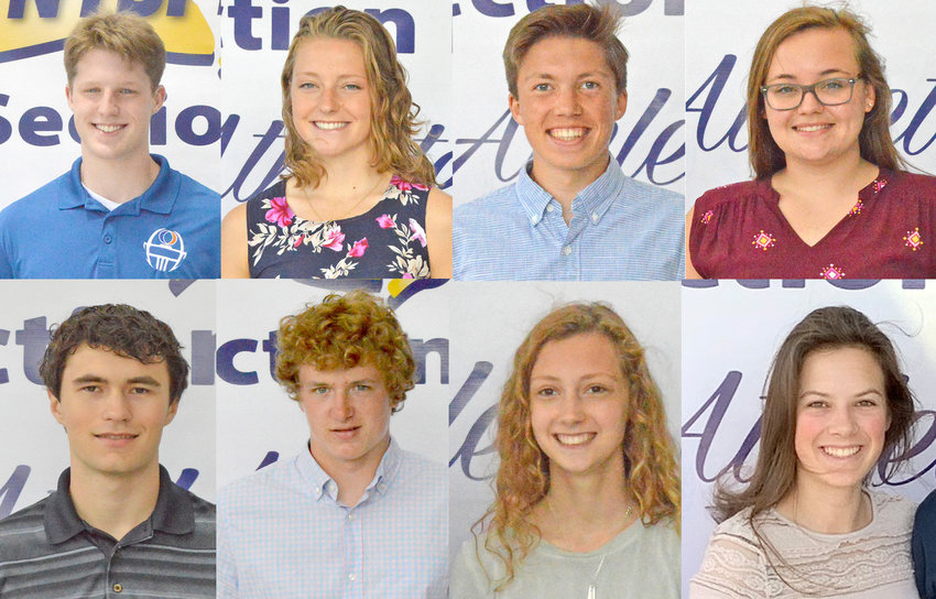 SCHOLAR ATHLETES — Section III athletics honored scholar athletes from across the Section on Thursday, June 11. Top row from left: Benjamin Wright, Oneida, Jamison Anna Jones, Oneida; Nicolas Ferretti, Rome Free Academy; Carley Cashel, Canastota. Bottom row from left: Matthew Gadziala, Clinton; Branton Carpenter, South Lewis, Izabelle Liendecker, South Lewis; Justine Draper, Holland Patent.