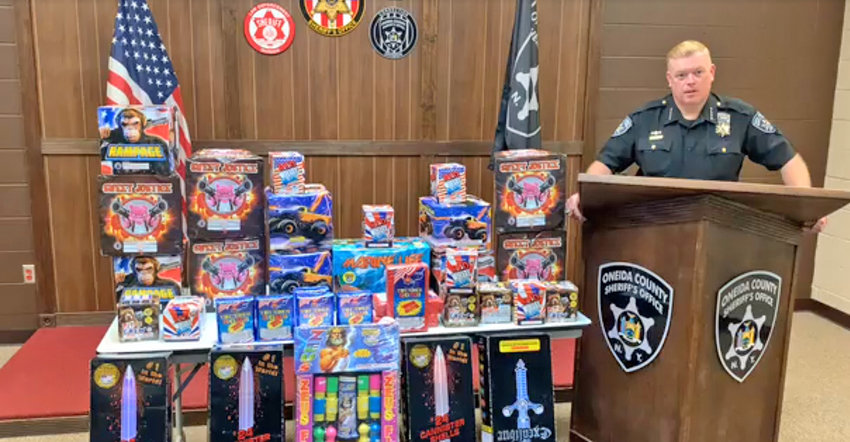 FIREWORKS HAUL — Several dozen boxes of illegal fireworks were seized during a traffic stop in Whitestown on Wednesday, announced Sheriff Robert M. Maciol this morning. The two teenagers in the vehicle have been charged with possession of fireworks.