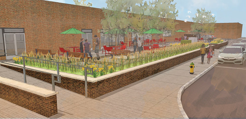 VISION — Pictured is an artist rendering of what the Copper City Commons Pedestrian Improvement Project could look like.
