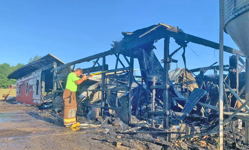 NOTHING LEFT — A cow barn in Lewis County and all of its material contents were destroyed in a fire Tuesday morning. No cows were harmed.