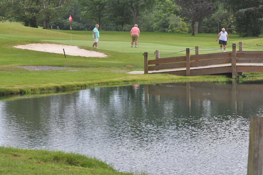 ON THE GREEN — Members of the the ladies league on the 9th green at Westmoreland Golf Club on Thursday morning.